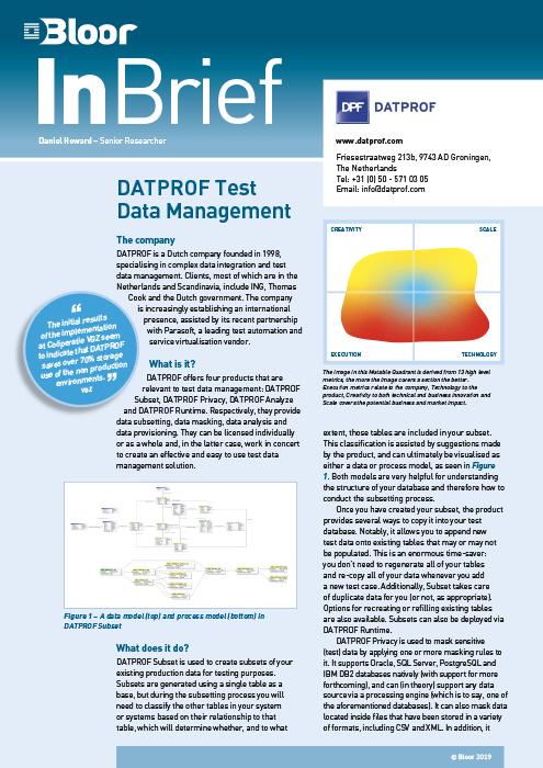 Cover for DATPROF Test Data Management