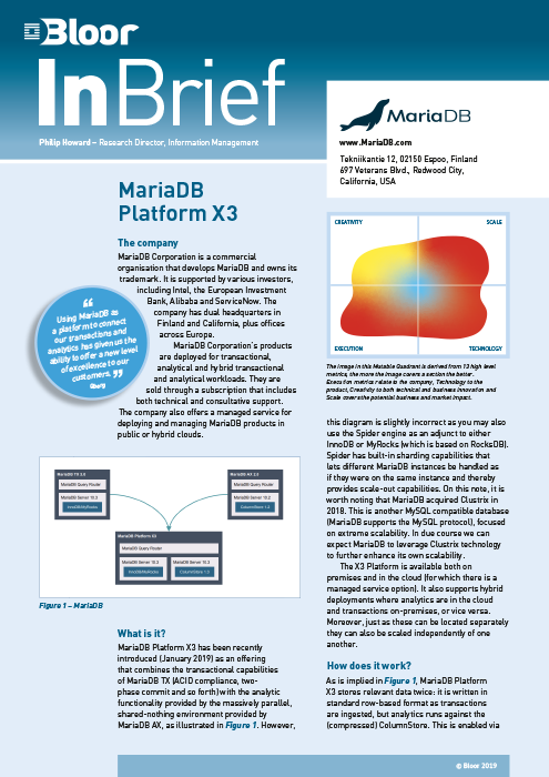 Cover for MariaDB Platform X3