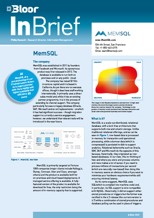 Cover for MemSQL