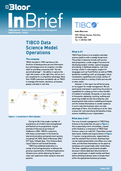 Cover for TIBCO Data Science Model Operations