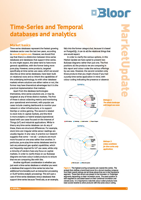 Cover for Time-Series and Temporal databases and analytics