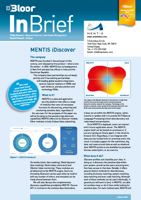 Cover for MENTIS iDiscover