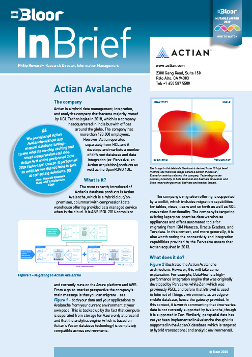 Cover for Actian Avalanche