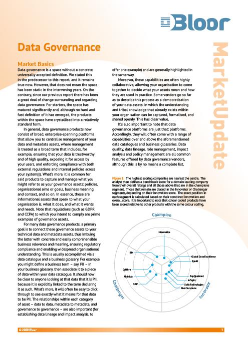 Cover for Data Governance (July 2020)