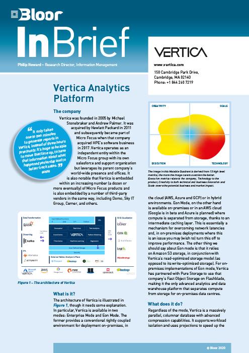 Cover for Vertica Analytics Platform