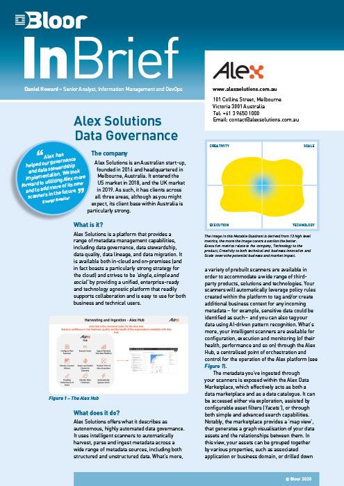 Cover for Alex Solutions Data Governance