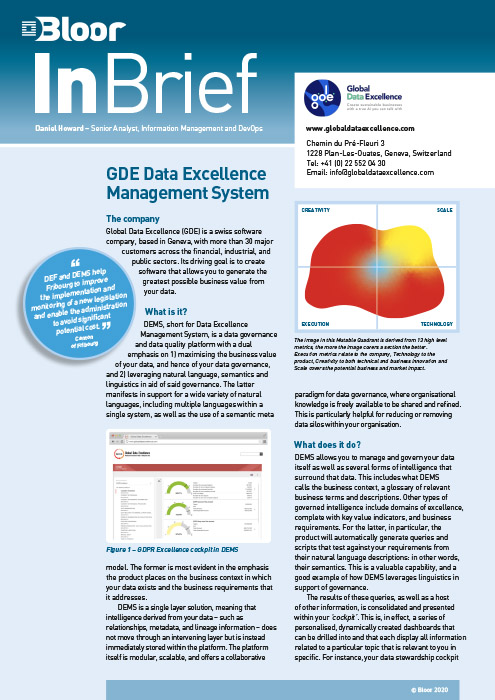 Cover for GDE Data Excellence Management System