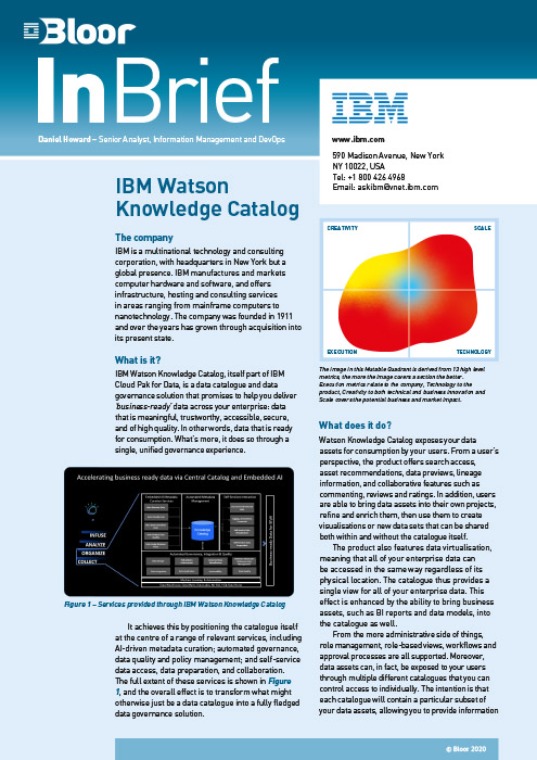 Cover for IBM Watson Knowledge Catalog