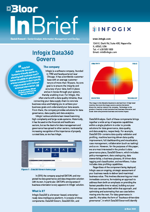 Cover for Infogix Data360 Govern