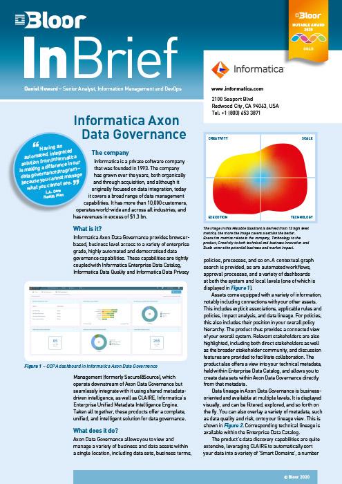 Cover for Informatica Axon Data Governance