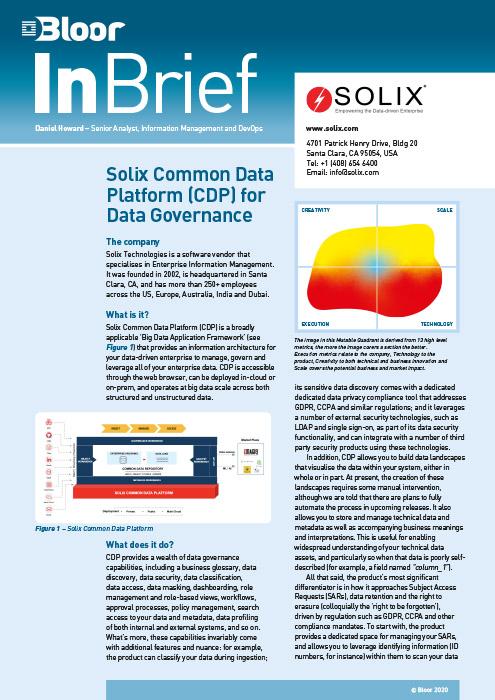 Cover for Solix Common Data Platform (CDP) for Data Governance
