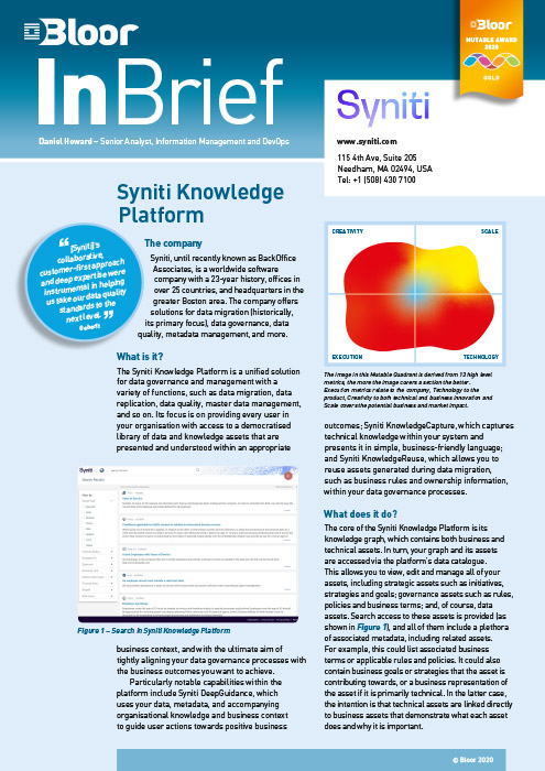 Cover for Syniti Knowledge Platform