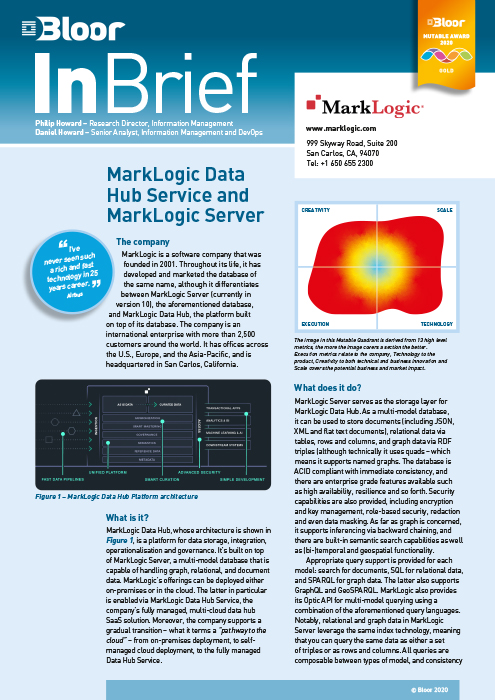 Cover for MarkLogic Data Hub Service and MarkLogic Server