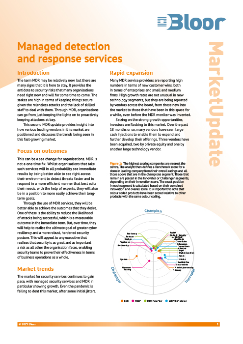 Cover for Managed Detection and Response Services