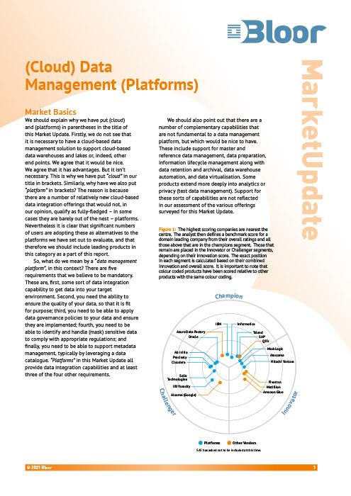 Cover for (Cloud) Data Management Platforms