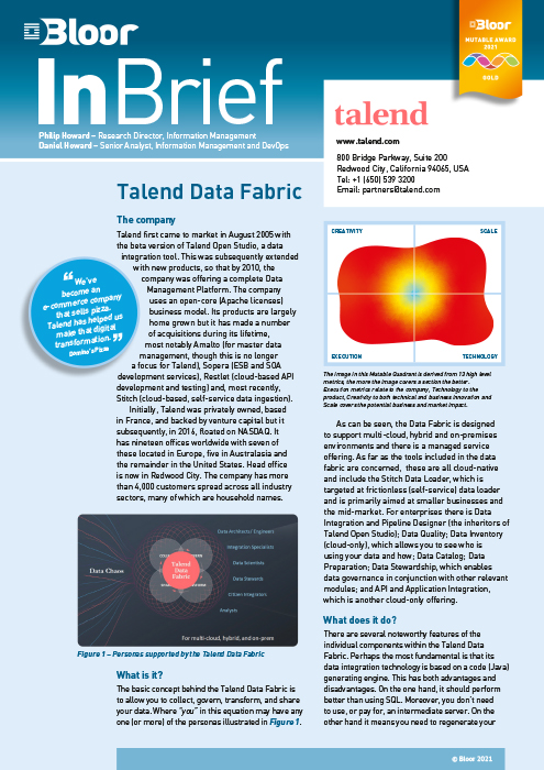 Cover for Talend Data Fabric