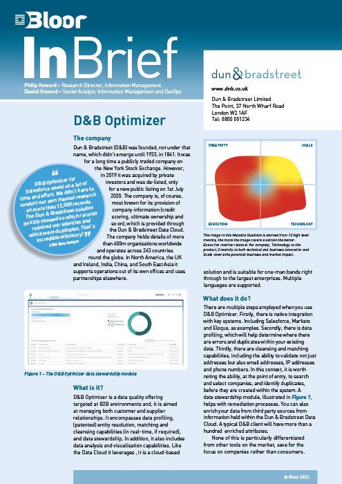 Cover for D&B Optimizer