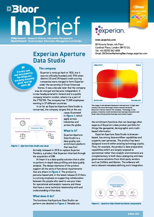 Cover for Experian Aperture Data Studio