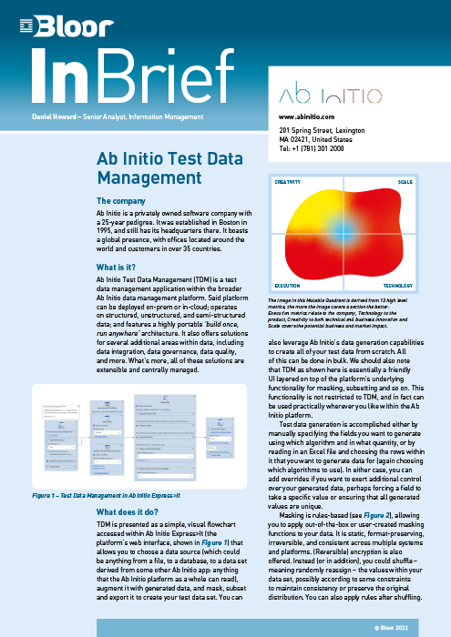 Cover for Ab Initio Test Data Management