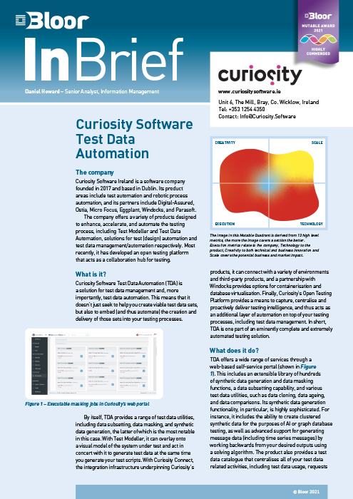 Cover for Curiosity Software Test Data Automation