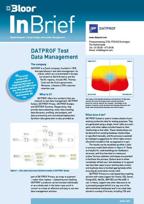 Cover for DATPROF Test Data Management (2021)