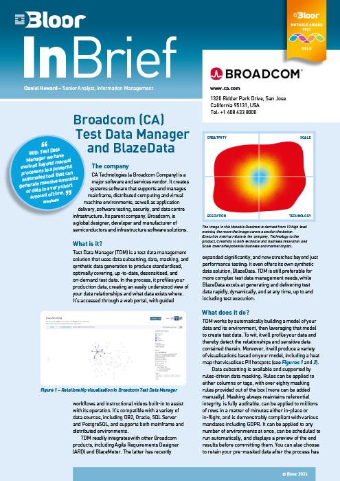 Cover for Broadcom (CA) Test Data Manager and Blaze Data