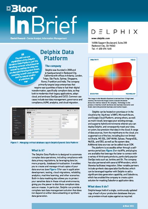 Cover for Delphix Data Platform (2021)