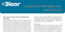 Cover for Log & Event Management: netForensics