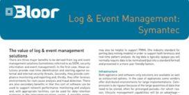 Cover for Log & Event Management: Symantec